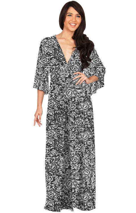 FLORENCE - 3/4 Kimono Sleeve Deep V-Neck Floral Print Long Maxi Dress - Black / Extra Small - Dresses