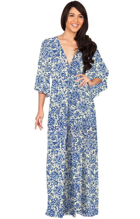 FLORENCE - 3/4 Kimono Sleeve Deep V-Neck Floral Print Long Maxi Dress - Blue / Small - Dresses
