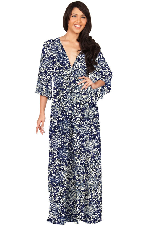 FLORENCE - 3/4 Kimono Sleeve Deep V-Neck Floral Print Long Maxi Dress - Dark Blue / Small - Dresses
