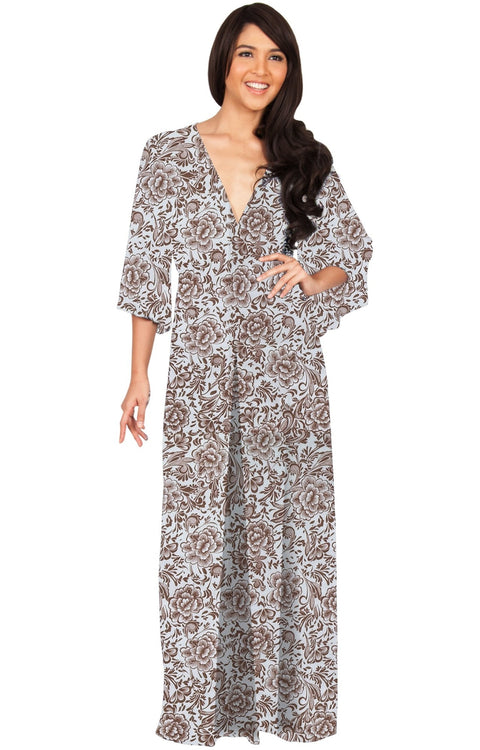 FLORENCE - 3/4 Kimono Sleeve Deep V-Neck Floral Print Long Maxi Dress - White / Small - Dresses