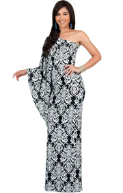 FLOYD - One Shoulder Long Print Cape Sleeve Evening Gown Maxi Dress