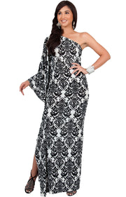 FLOYD - One Shoulder Long Print Cape Sleeve Evening Gown Maxi Dress - Black & White / 2X Large
