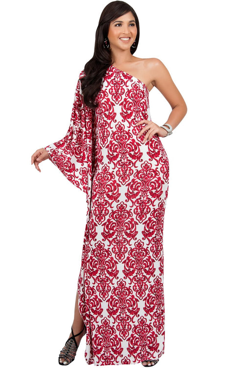 FLOYD - One Shoulder Long Print Cape Sleeve Evening Gown Maxi Dress - Red & White / 2X Large
