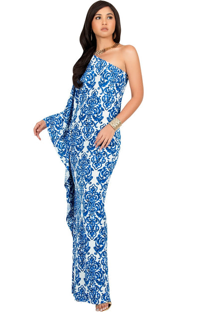 FLOYD - One Shoulder Long Print Cape Sleeve Evening Gown Maxi Dress - Royal Blue & White / 2X Large