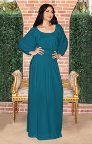 FRANNY - Long Sleeve Peasant Casual Flowy Fall Modest Maxi Dress Gown