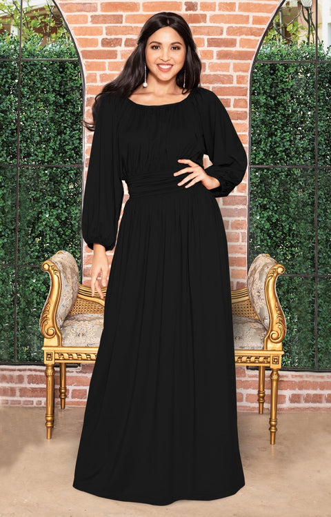FRANNY - Long Sleeve Peasant Casual Flowy Fall Modest Maxi Dress Gown - Black / 2X Large