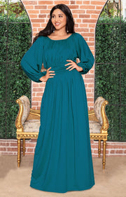 FRANNY - Long Sleeve Peasant Casual Flowy Fall Modest Maxi Dress Gown - Blue Green Jade / Small