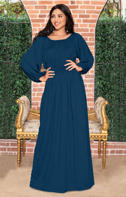 FRANNY - Long Sleeve Peasant Casual Flowy Fall Modest Maxi Dress Gown - Blue Teal / 2X Large