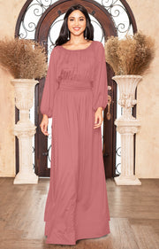 FRANNY - Long Sleeve Peasant Casual Flowy Fall Modest Maxi Dress Gown - Cinnamon Rose Pink / Small