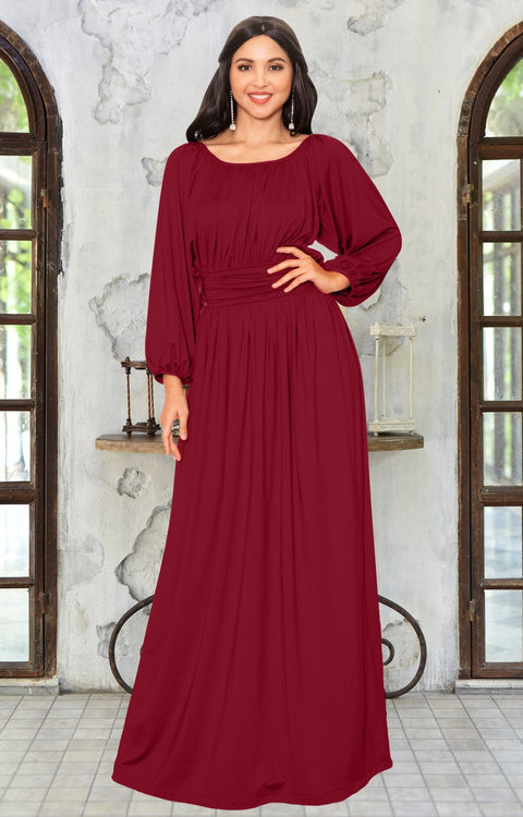 FRANNY - Long Sleeve Peasant Casual Flowy Fall Modest Maxi Dress Gown - Crimson Dark Red / 2X Large