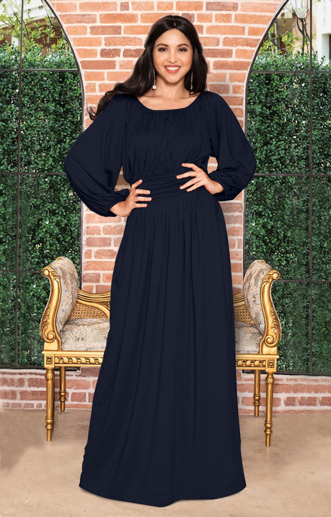 FRANNY - Long Sleeve Peasant Casual Flowy Fall Modest Maxi Dress Gown - Dark Navy Blue / 2X Large