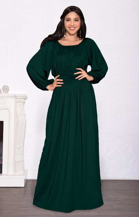 FRANNY - Long Sleeve Peasant Casual Flowy Fall Modest Maxi Dress Gown - Emerald Green / Small