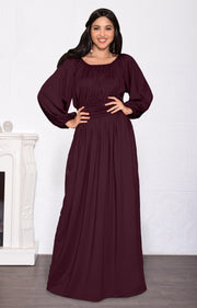 FRANNY - Long Sleeve Peasant Casual Flowy Fall Modest Maxi Dress Gown - Maroon Wine Red / Small