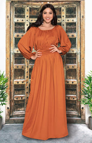 FRANNY - Long Sleeve Peasant Casual Flowy Fall Modest Maxi Dress Gown - Orange / 2X Large