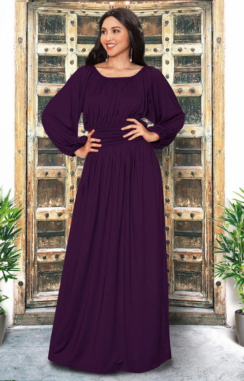 FRANNY - Long Sleeve Peasant Casual Flowy Fall Modest Maxi Dress Gown - Purple / 2X Large