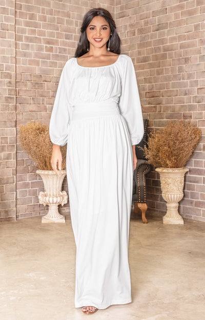 FRANNY - Long Sleeve Peasant Casual Flowy Fall Modest Maxi Dress Gown - White / 2X Large