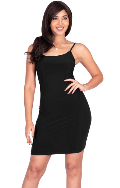 GRACE - Bodycon Camisole Sleeveless Cami Slip Undergarment Midi Dress - Black / Medium