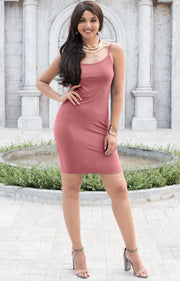 GRACE - Bodycon Camisole Sleeveless Cami Slip Undergarment Midi Dress - Cinnamon Rose Pink / Small