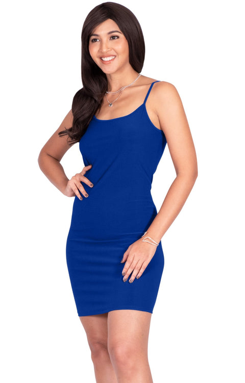 GRACE - Bodycon Camisole Sleeveless Cami Slip Undergarment Midi Dress - Cobalt Royal Blue / Small