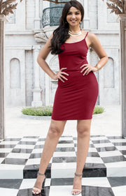 GRACE - Bodycon Camisole Sleeveless Cami Slip Undergarment Midi Dress - Crimson Dark Red / Small