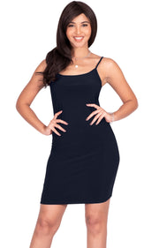 GRACE - Bodycon Camisole Sleeveless Cami Slip Undergarment Midi Dress - Dark Navy Blue / Medium