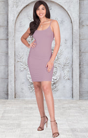 GRACE - Bodycon Camisole Sleeveless Cami Slip Undergarment Midi Dress - Dusty Pink / Small