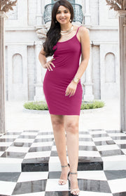 GRACE - Bodycon Camisole Sleeveless Cami Slip Undergarment Midi Dress - Fuchsia Magenta Pink / Small