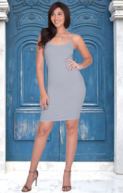 GRACE - Bodycon Camisole Sleeveless Cami Slip Undergarment Midi Dress - Gray Grey / Small