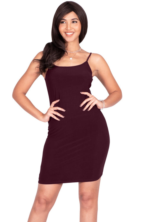 GRACE - Bodycon Camisole Sleeveless Cami Slip Undergarment Midi Dress - Maroon Wine Red / Medium