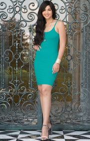 GRACE - Bodycon Camisole Sleeveless Cami Slip Undergarment Midi Dress - Turquoise / Small