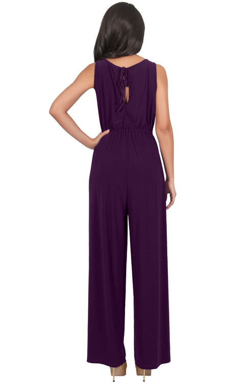 GWEN - Dressy Long Sleeveless Summer Cocktail Jumpsuits Pants Suit