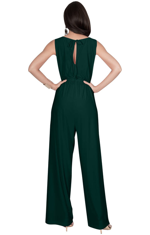 GWEN - Long Dressy Sleeveless Summer Cocktail Jumpsuits Pants Suit