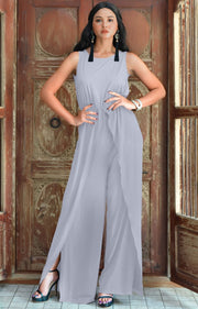 GWEN - Dressy Long Sleeveless Summer Cocktail Jumpsuits Pants Suit - Gray Grey / Small