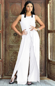 GWEN - Dressy Long Sleeveless Summer Cocktail Jumpsuits Pants Suit - Ivory White / 2X Large