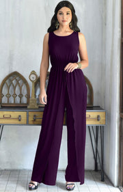 GWEN - Dressy Long Sleeveless Summer Cocktail Jumpsuits Pants Suit - Purple / 2X Large