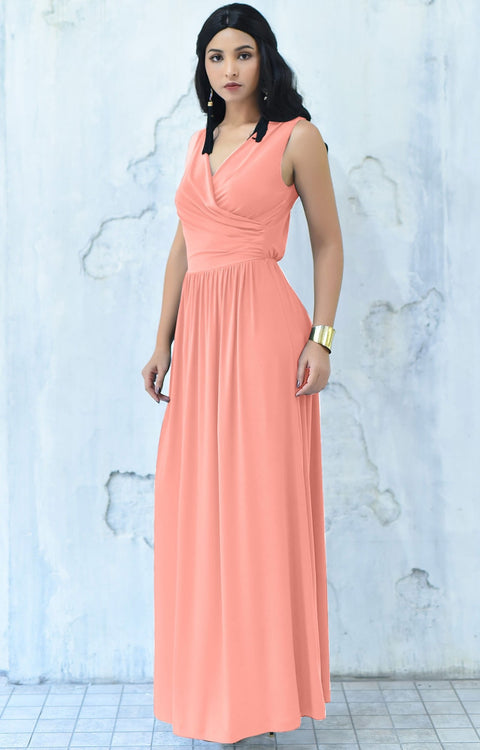 HAILEY - Sleeveless Bridesmaid Wedding Party Summer Maxi Dress Gown