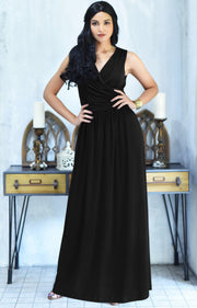 HAILEY - Sleeveless Bridesmaid Wedding Party Summer Maxi Dress Gown - Black / 2X Large