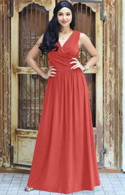 HAILEY - Sleeveless Bridesmaid Wedding Party Summer Maxi Dress Gown - Bright Coral Red / 2X Large