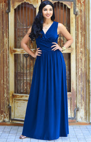 HAILEY - Sleeveless Bridesmaid Wedding Party Summer Maxi Dress Gown - Cobalt / Royal Blue / 2X Large