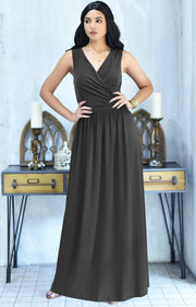 HAILEY - Sleeveless Bridesmaid Wedding Party Summer Maxi Dress Gown - Dark Gray Grey / 2X Large