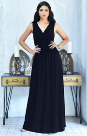 HAILEY - Sleeveless Bridesmaid Wedding Party Summer Maxi Dress Gown - Dark Navy Blue / 2X Large