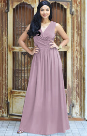 HAILEY - Sleeveless Bridesmaid Wedding Party Summer Maxi Dress Gown - Dusty Pink / 2X Large