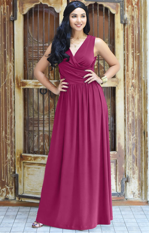 HAILEY - Sleeveless Bridesmaid Wedding Party Summer Maxi Dress Gown - Fuchsia Magenta Pink / 2X Large