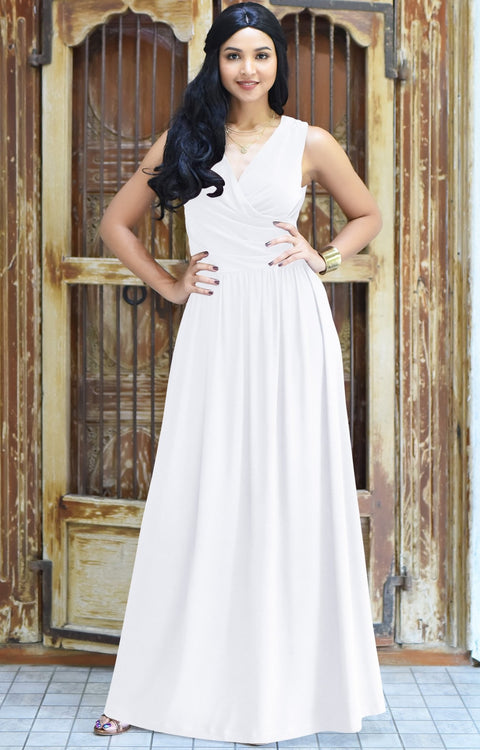 HAILEY - Sleeveless Bridesmaid Wedding Party Summer Maxi Dress Gown - Ivory White / 2X Large
