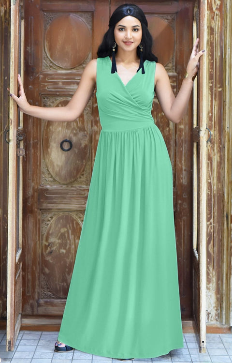 HAILEY - Sleeveless Bridesmaid Wedding Party Summer Maxi Dress Gown - Moss / Mint Green / 2X Large