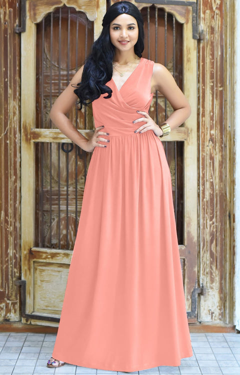 HAILEY - Sleeveless Bridesmaid Wedding Party Summer Maxi Dress Gown - Light Pink Peach / Extra Small