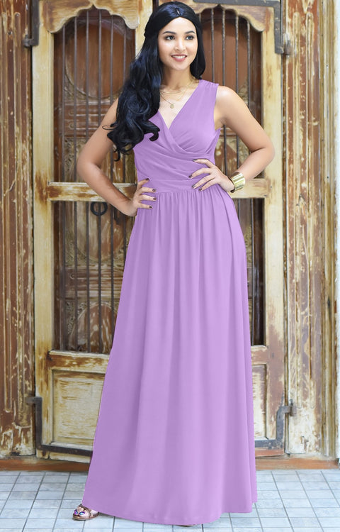 HAILEY - Sleeveless Bridesmaid Wedding Party Summer Maxi Dress Gown - Lilac Light Purple / 2X Large