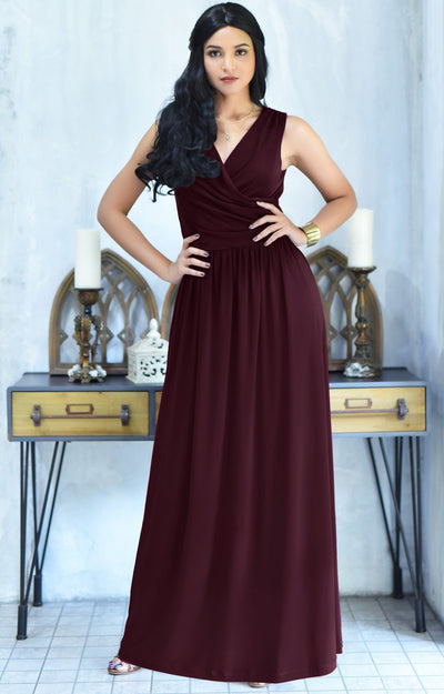 HAILEY - Sleeveless Bridesmaid Wedding Party Summer Maxi Dress Gown - Maroon Wine Red / 2X Large