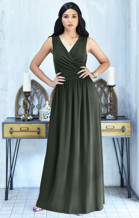 HAILEY - Sleeveless Bridesmaid Wedding Party Summer Maxi Dress Gown - Olive Green / 2X Large
