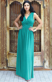 HAILEY - Sleeveless Bridesmaid Wedding Party Summer Maxi Dress Gown - Turquoise / 2X Large